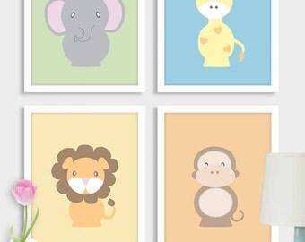 Baby boy nursery art zoo animal elephant art print nursery prints printable kids wall art safari animals digital download, set, 4 Jpeg