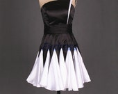 Black and white satin homecoming dress short,2015 unique women gowns for party,cheap prom dresses under 100.