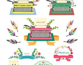 Vintage typewriter  clipart, digital illustration, web graphic, vector art ,  instant download