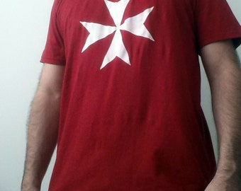 Hospitaller's Cross T-shirt. Available in Red or Black. Medieval order of Knights.