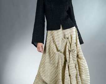 Linen ivory skirt.Unique, modern and romantic   Natural and inspiring.