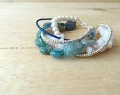 OCEAN Blue Quartz Bracelet Six Strand Snow Jade Glass Pearl Boho