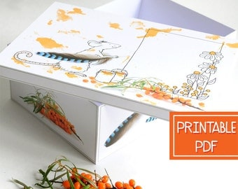 Large Gift Box - Nature Inspired Mouse - Printable , Digital PDF , Instant Download , DIY Garden Gift Wrap , Paper Craft, Packaging Template