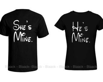 Couple T-shirt - He is mine & She is mine - 2 Couple Tees - Matching Love Crewneck T-shirts