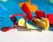 Fleece Tie Dinosaur Turqoise Red Baby or Toddler Blanket