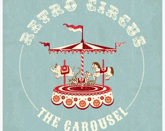 Retro Circus Carousel Vector Background