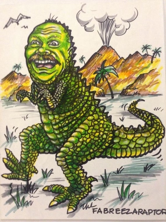 "Caricature of, ""Hey, I'm a T-Rex!"""