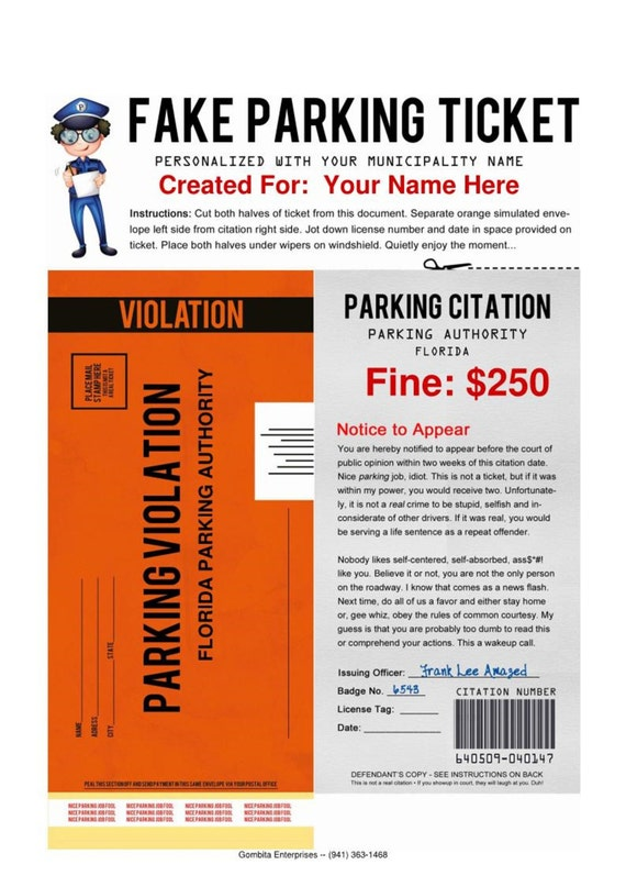 PDF - Fake Parking Ticket - What a Great Way To Play A Practical Joke ...
