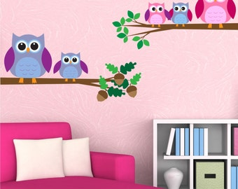 Owls Wall Decal Owls Birds Wall Art Sticker Decal Mural Transfer Children's BedroomWall Stickers WSD217