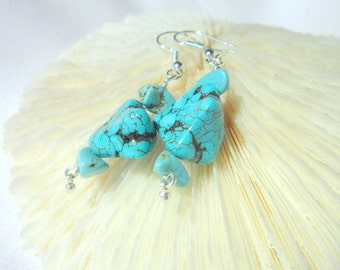 Turquoise Nugget Earrings  ID 311