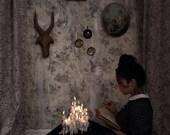 Fundamental Elements - FREE SHIPPING Print Woman Girl  Reading Book Fire Light Dark Shadows Candles Wax Antique Portrait Glow Horns Art Wood