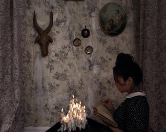 Fundamental Elements FREE SHIPPING Print Girl reading book by candle light Fire Dark Art Wax Surreal photography Portrait Fine art Creepy