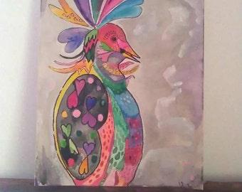 Love Bird, Original Painting, Watercolour, Rainbow, Joyful, Original Art, 21cm x 28cm, Home Decor, Bohemian