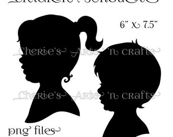 Silhouettes, Instant Download, PNG Graphics, Children Silhouettes, Boy and Girl Clipart, Silhouette Clipart, Digital Download, Clip Art