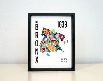 The Bronx City Map print