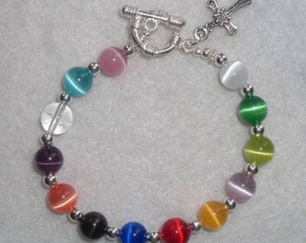 Cancer Awareness Bracelet, Cat's Eye Beads, Silver Plated, All Cancer Awareness Bracelet