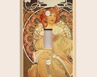 "Alphonse Mucha ""Reverie"" Single Toggle Light Switch Plate - Art Nouveau - Brown, Gold Orange Yellow"