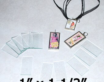 10 Pack 1 x 1-1/2 Inch Rectangles - Clear Pendant Glass for Collage Altered Art Soldered Jewelry.