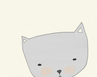 printable cat - kids artwork - Printable kids room - Cat Print - Illustration Print, cat drawing, nursery art, cat art - My New Sweater