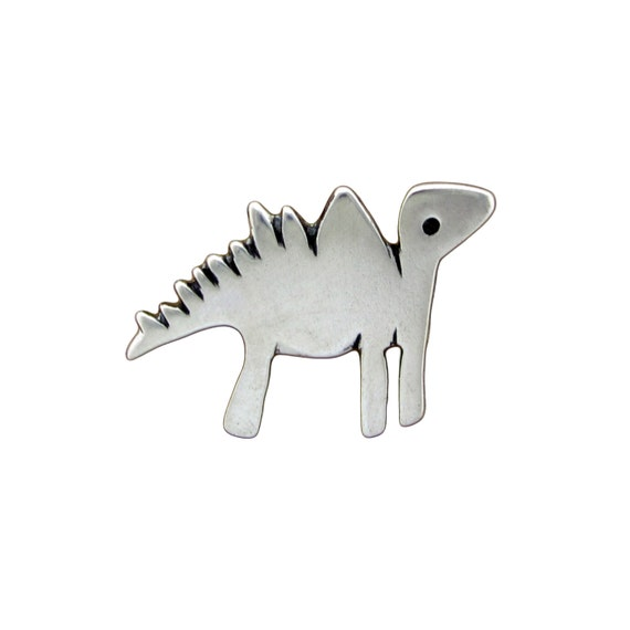 Sterling Dinosaur Necklace - Silver Stegosaurus Pendant or Charm