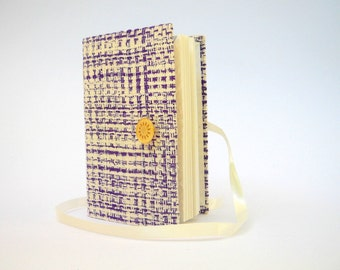 White Purple journal notebook lined paper for writing Handmade raw silk personal diary Textured boucle fabric cover, Button & Ribbon closure