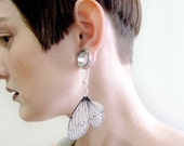 Cicada wing dangle earrings for stretched earlobes, tunnels and gauges
