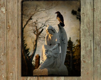Stone Angel, Gothic Angel, Raven, Professional Image, Halloween Art, Original Corvid Photography - On A Wing And A Prayer