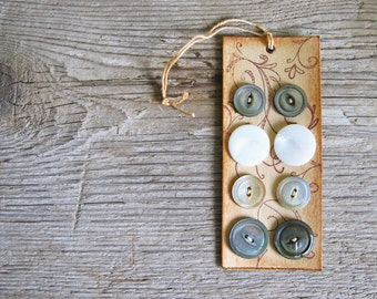 Vintage Mother of Pearl Buttons on Handmade Card
