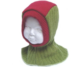 Wool balaclava lined hat toddler girl 12 to 24 months green fuchsia pink helmet