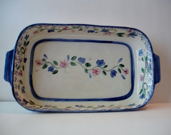 Kitchen Decor - Folk Art Dish - Table Decor - Hand Painted - Green Vine - Pink Flowers - Blue Accents  - Handmade 1991