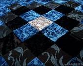 One of a Kind Art Nouveau Decadence Peacock Teal & Black Patchwork Coverlet - Brand New by Kambriel - Made with 350+ pieces of fabric!