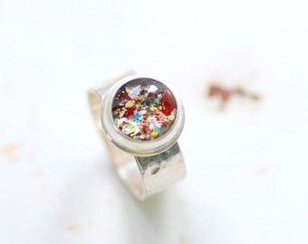 Red Ring, Glitter Ring, Metalwork Ring, Sterling Silver Ring, Hammered Silver Ring, Bezel ring, Glitter Jewelry, MADE TO ORDER - Stardust