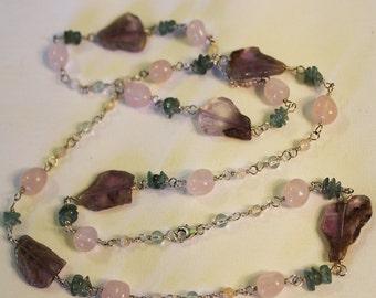 Gemstone long Necklace, Wrap Bracelet, Aqua Marine, Citrine, Agate, Apatite, Rose Quartz, Handmade, Sterling Silver Chain, Shimmer Shimmer