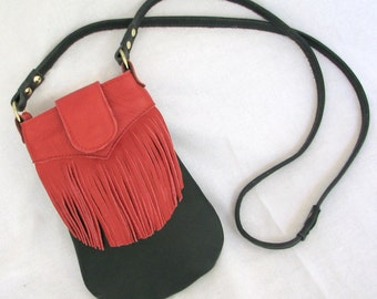 Red and Black Crossbody Fringe Bag - Leather Flapper-Inspired Boho Purse w  Extra Long Strap
