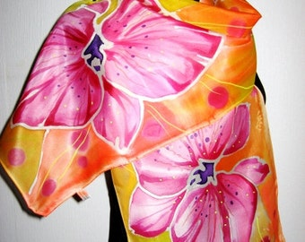 Floral Summer Silk Scarf , Hand Painted  Women Scarf, Mothers day Gift One of kind