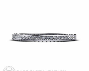 Platinum Pave Diamond Wedding Band Diamond Anniversary Band Diamond Ring Stacking Ring