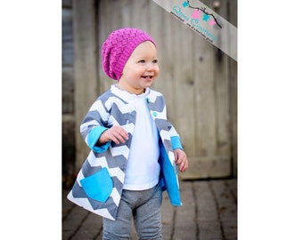 Reversible Jacket Pattern for girls sizes 12 months through slim 12 girls Pdf Instant