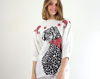 Cat Blouse - Leopard Print Shirt