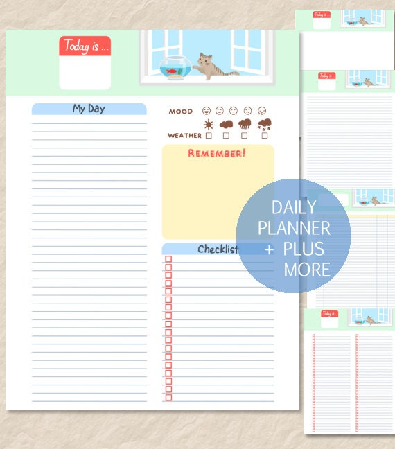 Printable Cute Cat Daily Planner Cute Cat Goldfish by CrownedMoon