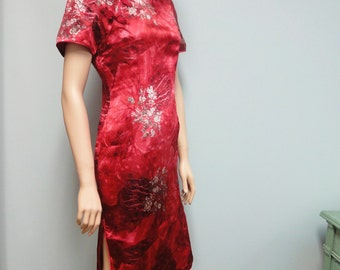 Cranberry Red Cheongsam Vintage 70s 80s Asian Wiggle Dress or Chinese Qipau in Womans Medium