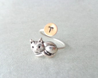 cat personalized ring, adjustable ring, animal ring, silver ring, statement ring