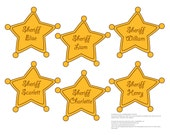 Sheriff Badges EDITABLE printable PDF for Cowboy or Toy Story Birthday Party (guest badges, cupcake toppers, front door signs, food labels)