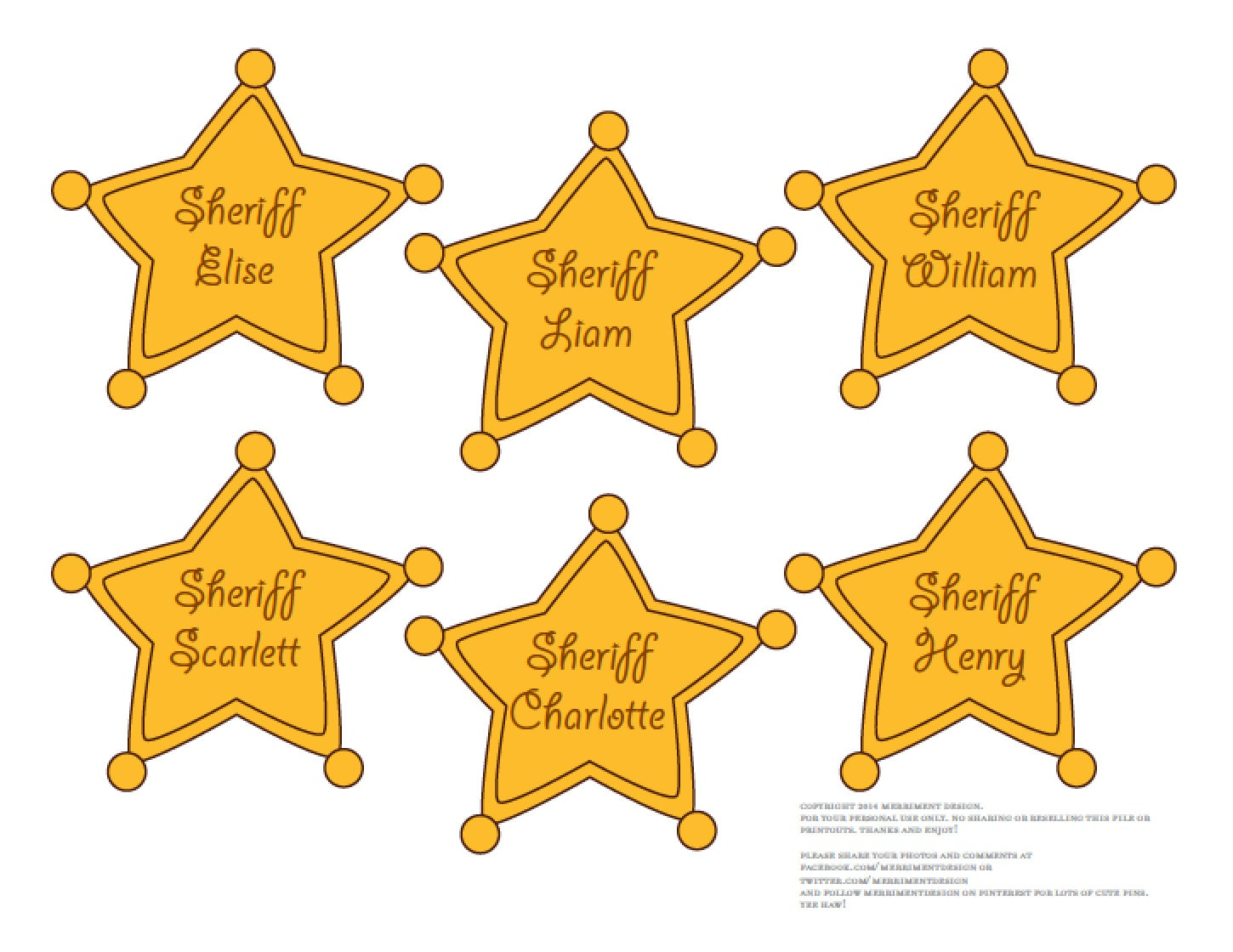 sheriff badges editable printable pdf for cowboy or toy story