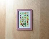 A gardener's alphabet of fruit and vegetables illustration postcard with avana envelope