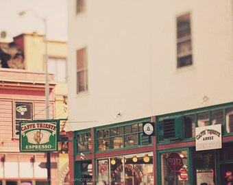 Caffe Trieste photo, San Francisco photography, travel print, Coppola Godfather, North Beach, dreamy, California art, movie lovers gift