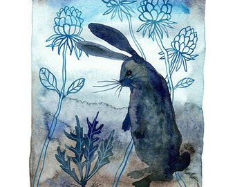 Midnight in the Garden, bunny rabbit wild hare, giclee art print, indigo blue watercolor