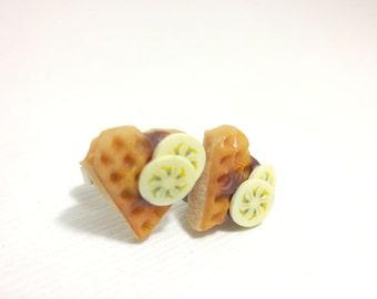 Waffle Heart Chocolate Earrings, Miniature Food Jewelry, Polymer Clay Food Jewelry