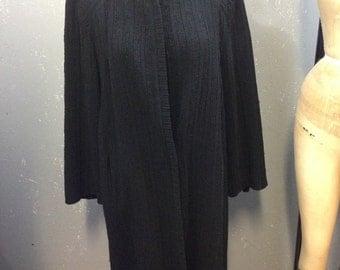 40's black winter coat. Small, medium.