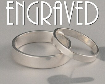 His & Hers Wedding Bands~Engraved Rings~Straight and Narrow Set~Rings with Engraving~Wedding Date Rings~Flat Edge Bands~Silver Wedding Set