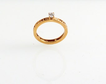 Diamond and Gold Particle Engagement Ring - in 14K Gold